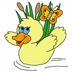 Duck with Butterfly embroidery design