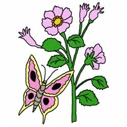 Purple Flower Butterfly embroidery design