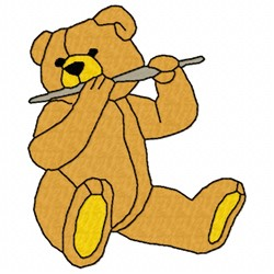 Bear Flute embroidery design