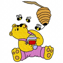 Bee Bear embroidery design