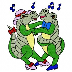 Dancing Crocodiles embroidery design