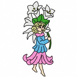 Fairy And Flowers embroidery design