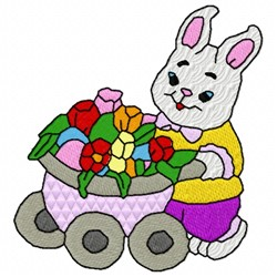 Bunny And Flowers embroidery design