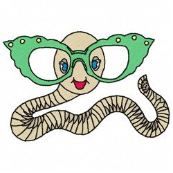 Worm With Glasses embroidery design