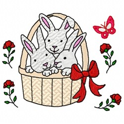 Bunnies In Basket embroidery design
