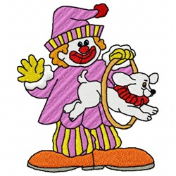 Clown And Dog embroidery design