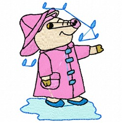 Pig In The Rain embroidery design