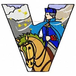 Patriotic Alphabet V embroidery design