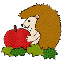 Hedgehog And Apple embroidery design