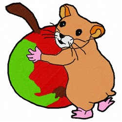 Hamster And Apple embroidery design