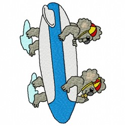 Koala Surfers embroidery design
