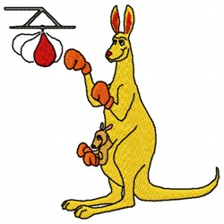 Kangaroo Boxer embroidery design