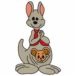 Kangaroo And Baby embroidery design