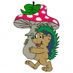Hedgehog And Mushroom embroidery design