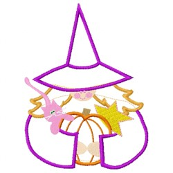 Cute Witch Applique embroidery design