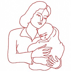 Mom And Baby Outline embroidery design