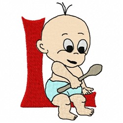 Baby With Spoon embroidery design