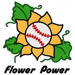 Flower Baseball embroidery design