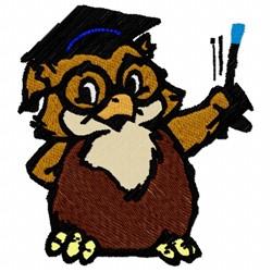 Owl Professor embroidery design