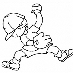 Boy Baseball Player embroidery design