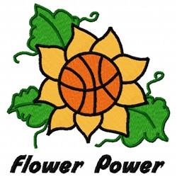 Flower Basketball embroidery design