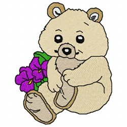 Bear with Pansies embroidery design