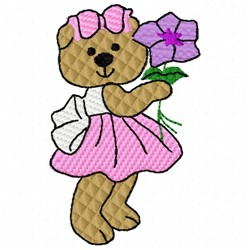 Bear With Flower embroidery design