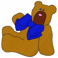 Blue Bowtie Bear embroidery design