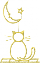 Cat and Face Moon embroidery design