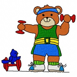 Excersise Bear embroidery design