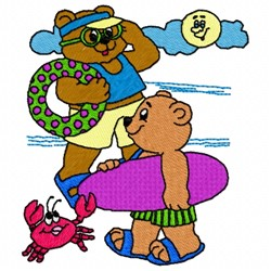 Swimming Bears embroidery design