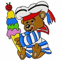 Ice Cream Bear embroidery design