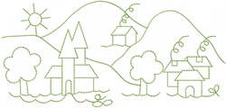 Village Scenic Outline embroidery design