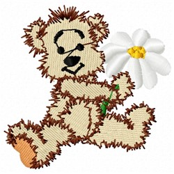 Teddy Bear With Daisy embroidery design