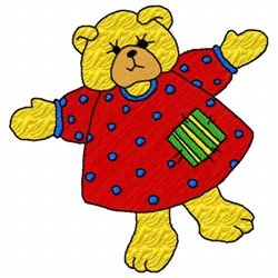 Bear In Dress embroidery design