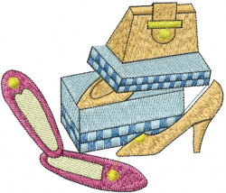 Ladies Shoe And Purse embroidery design