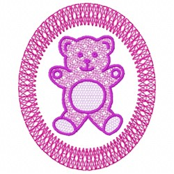 Teddy Bear In Circle embroidery design