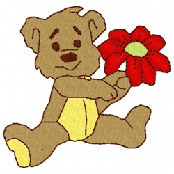 Teddy Bear And Flower embroidery design