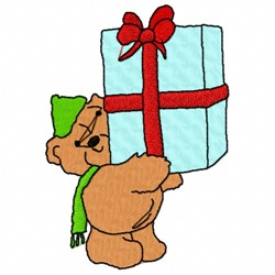 Bear With Present embroidery design