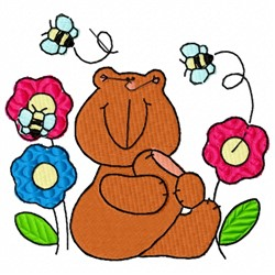 Bear and Bees embroidery design