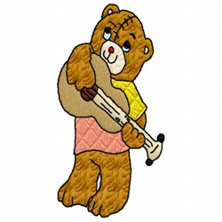 Bear Playing Guitar embroidery design