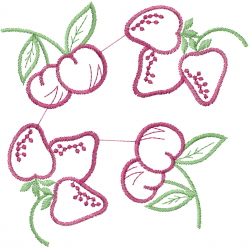 Strawberry Cherry Outline embroidery design