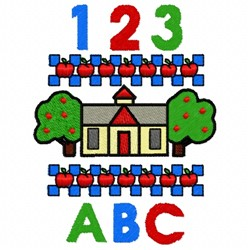123 Schoolhouse ABC embroidery design