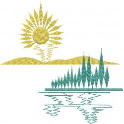 Sun Ray Scene embroidery design