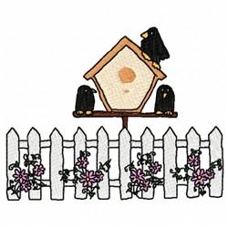 Birdhouse Fence embroidery design