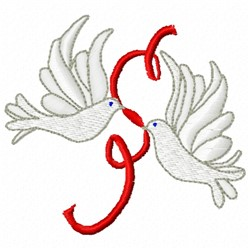 Ribbon Love Doves embroidery design