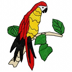 Perched Parrot embroidery design