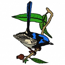 Perched Wren embroidery design