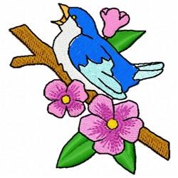 Singing Blue Bird embroidery design