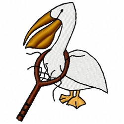 Tennis Pelican embroidery design